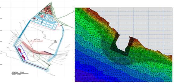 تکمیل مهندسی پایه و انجام مهندسی تفصیلی احداث موج شکن و اسکله های بندر خدماتی تمبک