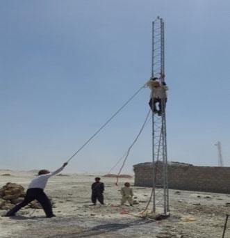 نصب دكل هواشناسي و مهارهاي آن (به ارتفاع 9 متر)